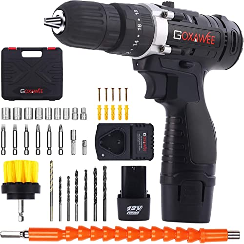 Cordless Drill with 2 Batteries – GOXAWEE Electric Screw Driver Set 100pcs with Hammer Function 30Nm, 18 3 Torque Setting, 2-Speed for Home DIY Project Drilling Walls, Bricks, Wood, Metal.