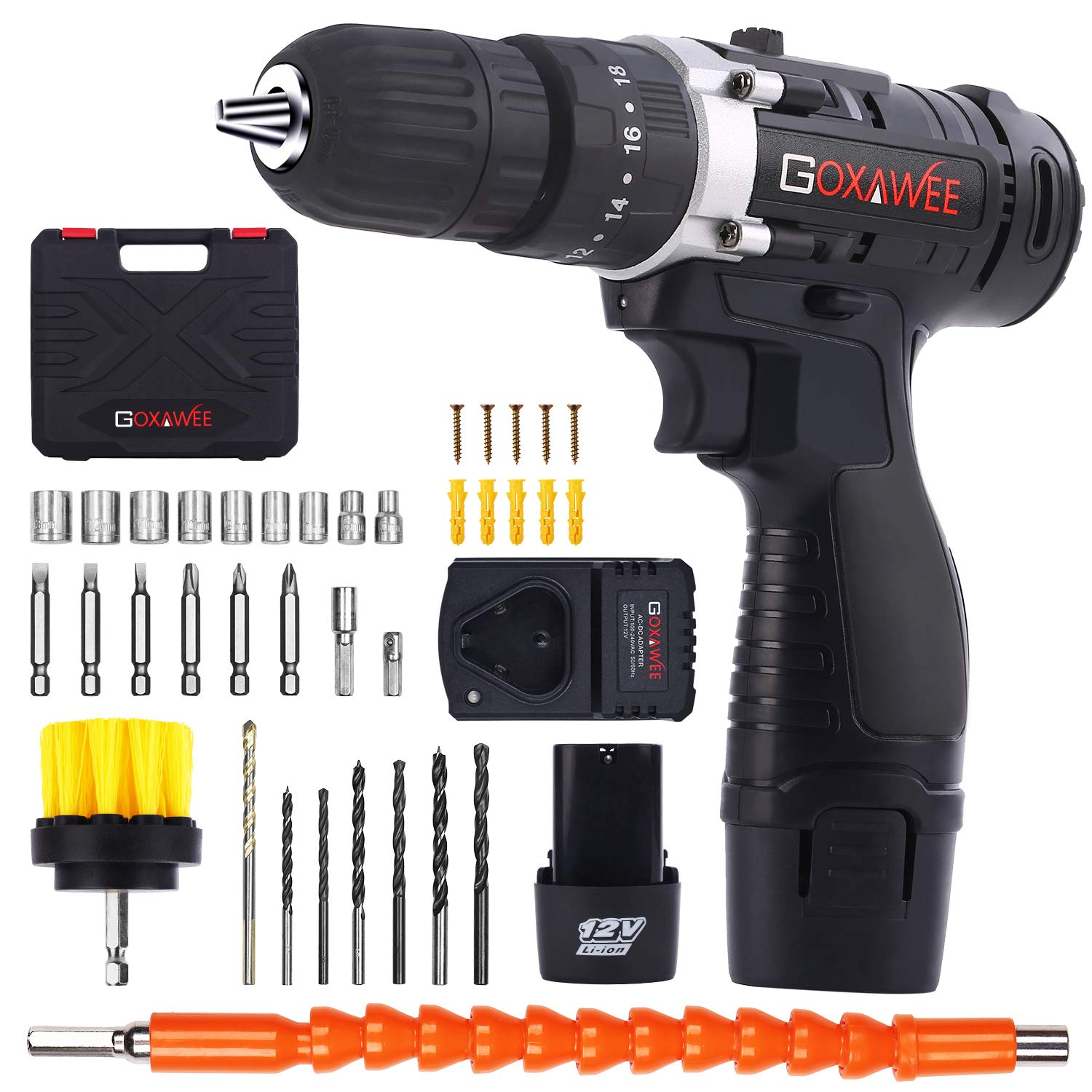 Cordless Drill with 2 Batteries – GOXAWEE Electric Screw Driver Set 100pcs with Hammer Function 12V, 18 3 Torque Setting, 30Nm, 3 8 inch Auto Chuck, 2-Speed for Home Improvement DIY Project