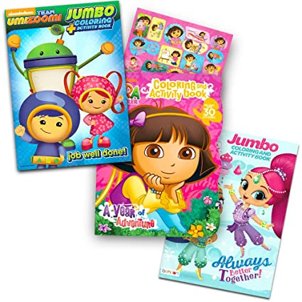 Nickelodeon Jr Coloring Book Set -- 3 Books Featuring Shimmer and Shine,  Team Umizoomi and Dora (Includes Dora Stickers)
