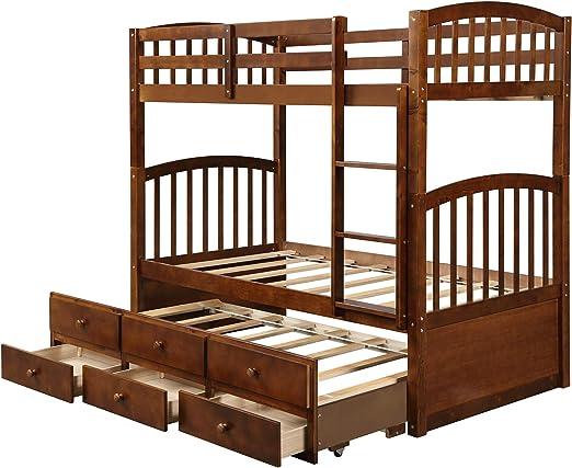 DERCASS Dercas - Litera Doble de Madera Desmontable con cajón, 3 cajones, Escalera y rieles de protección: Amazon.es: Juguetes y juegos