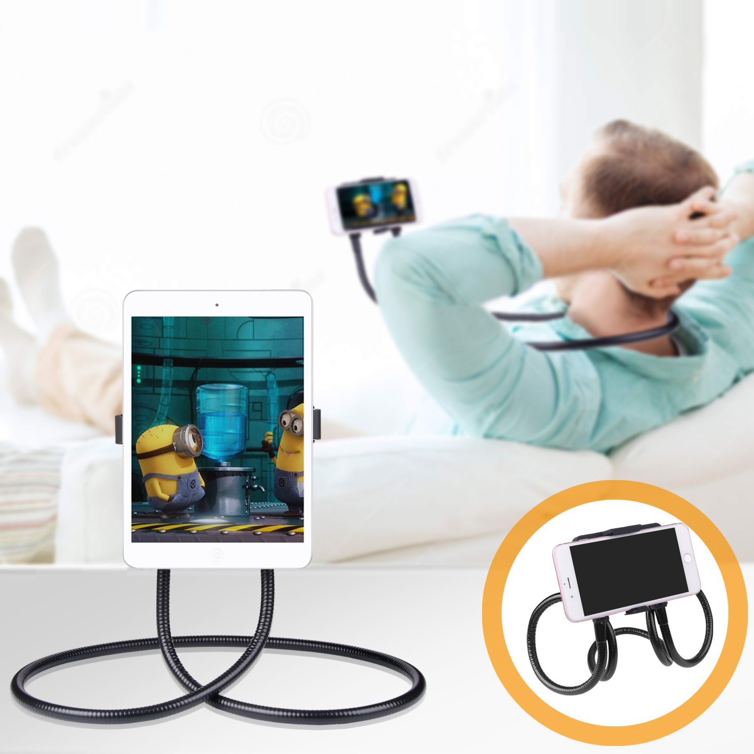 B-Land Cell Phone Holder, Tablet Holder iPad Stand Universal Phone Stand, Lazy Bracket, DIY Free Rotating Gooseneck Mounts with Multiple Function by B-Land