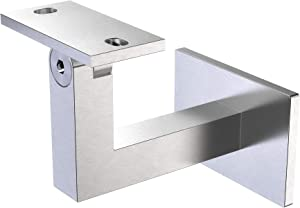 Stainless Steel Handrail Bracket Square for Flat/Curved Bottom Tube Slim Adjustable by InlineDesign