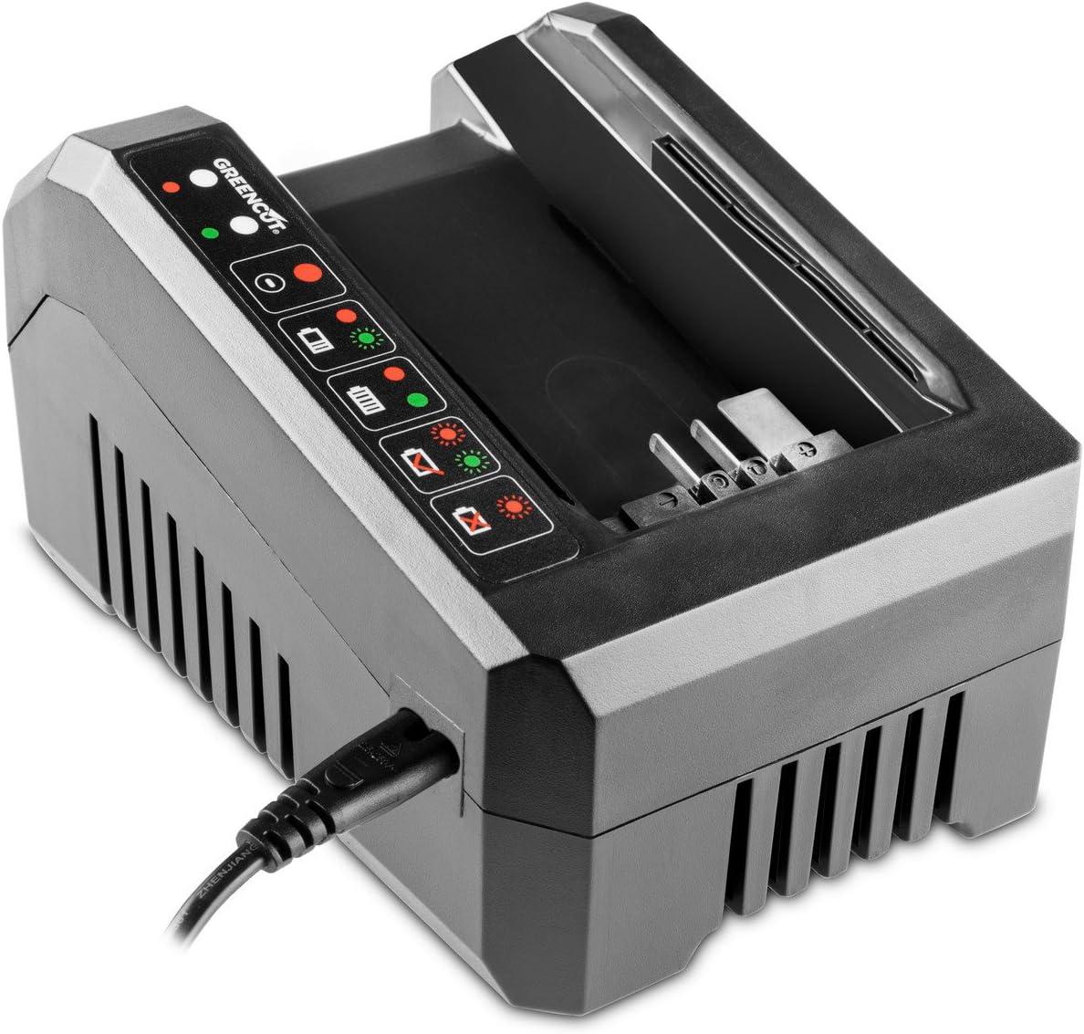 GREENCUT CBT560L - Cargador para baterias de litio de 2,0Ah y 4,0Ah, 56V para herramientas de jardin eléctricas sin cable Bateria de Ion de litio