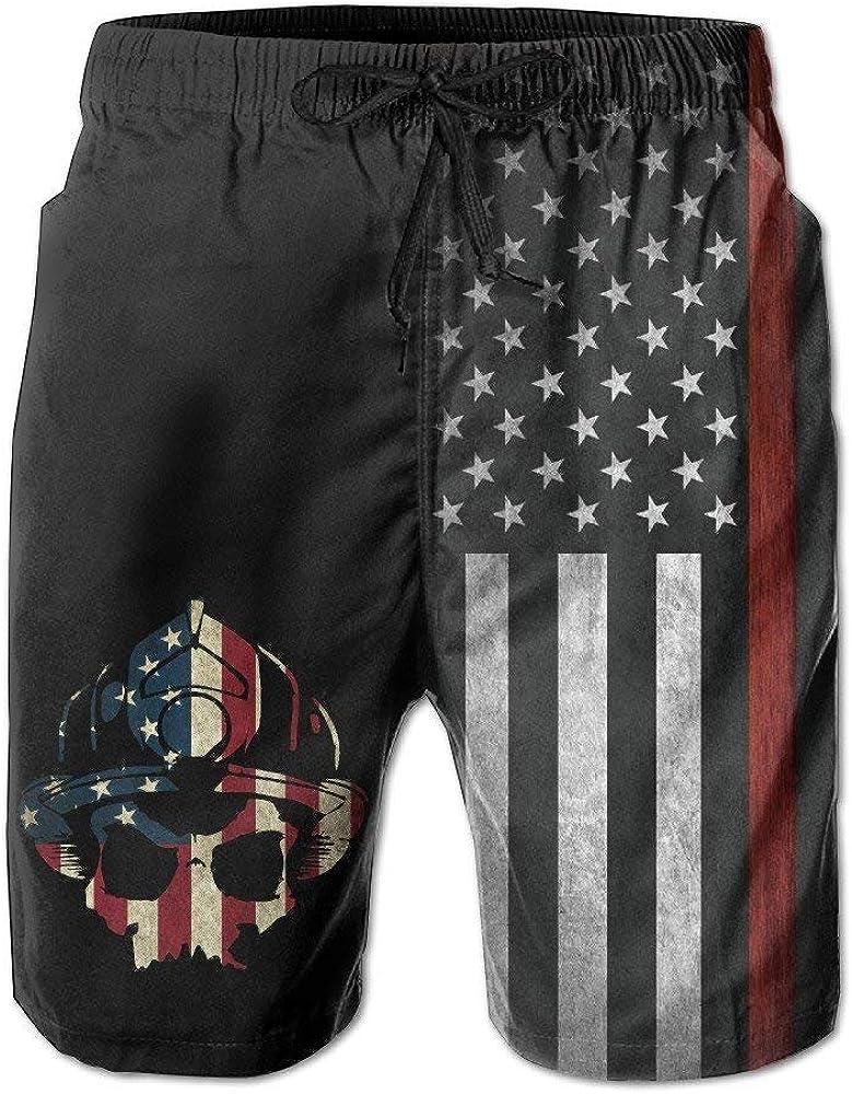 HONGZHESM Men Fireman Skull Thin Red Line Flag Summer Breathable Quick-Drying Swim Trunks Beach Shorts Cargo Shorts Large