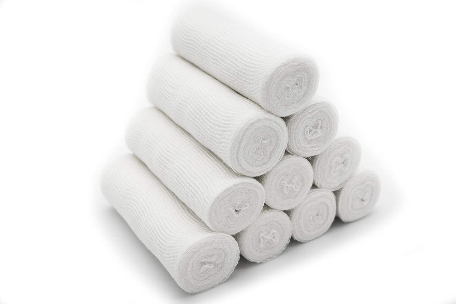 10-Pack Sterile 100% Cotton Gauze Medical Bandage Rolls, Fine Edges, 4 x 5.5 Yards 71EMabaEihL