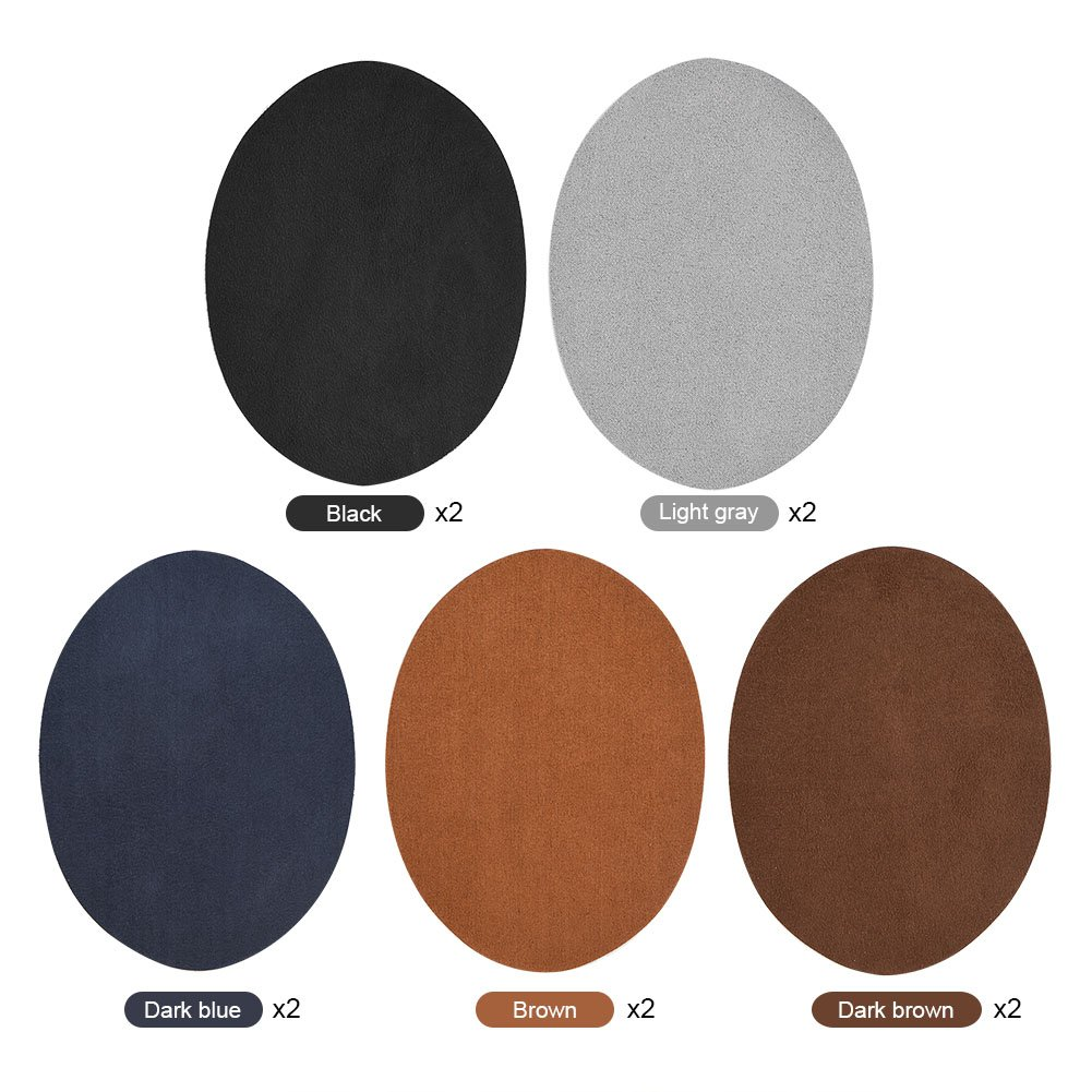 Repair Patches, Pack Of 10 Assorted Color Oval PU Leather Patch Repair Sewing Elbow Knee Patches Clothing Accessories Walfront