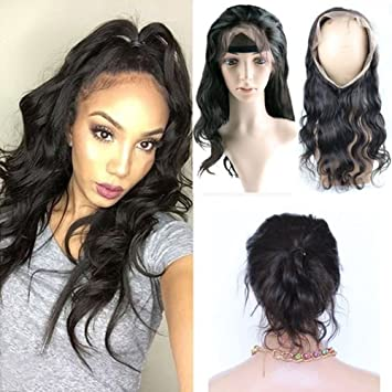 Amazon.com   Brazilian Body Wave 360 Lace Band Frontal Closure with Natural  Hairline for Black Women Natural Color 14inch   Beauty 8a9fd0a499