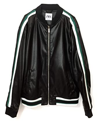 40d95108 Zara Men Faux Leather Bomber Jacket with Taping 8281/459 (Small) Black