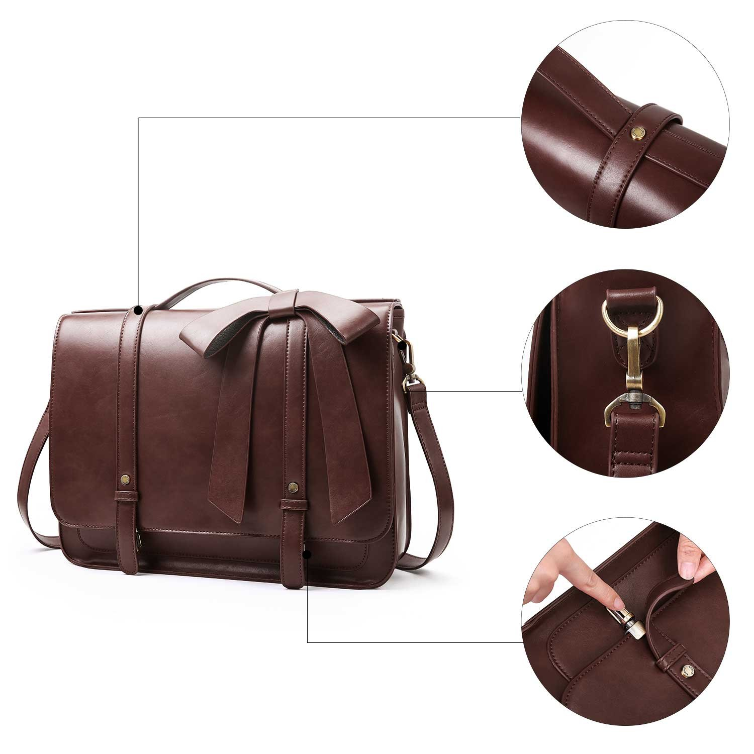 ECOSUSI Ladies Briefcase PU Leather Laptop Backpack Shoulder Satchel Computer Bag with Detachable Bow, Coffee by ECOSUSI (Image #6)