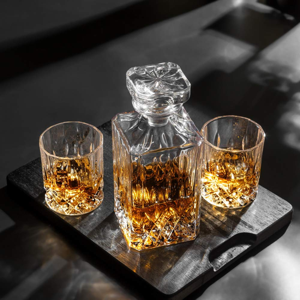KANARS Whiskey Decanter And Glass Set In Unique Luxury Gift Box - Original Crystal Liquor Decanter Set For Bourbon, Scotch or Whisky, 5-Piece by KANARS (Image #11)