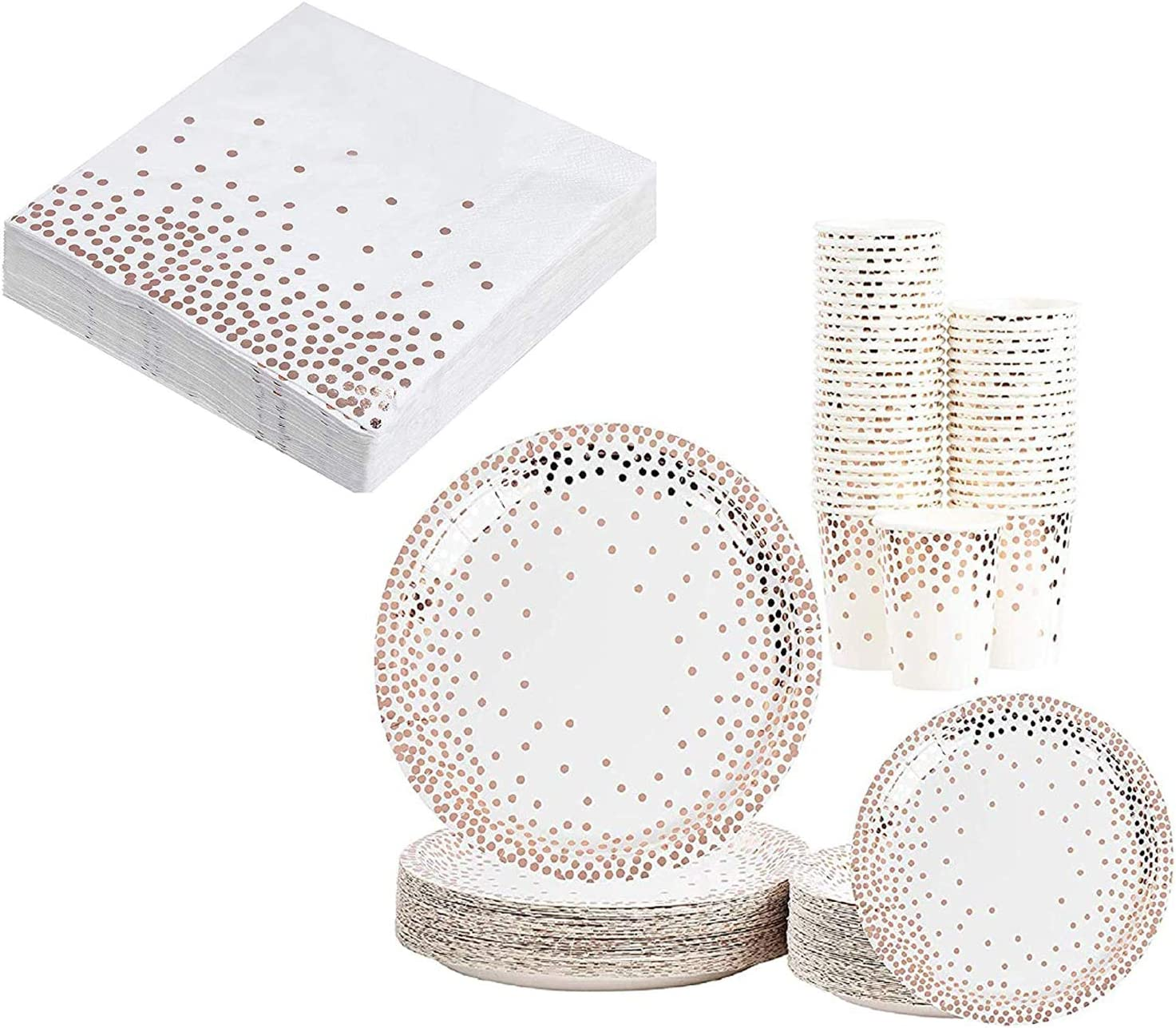 Rose Gold Party Supplies Bundle with Disposable Tableware and Napkins (122 Pieces)