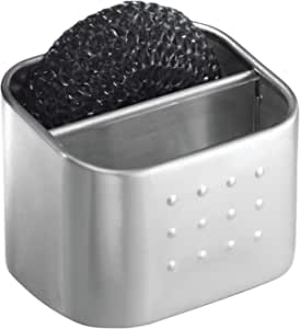 InterDesign Forma Sink Caddy, Sponge Holder with 2 Compartments, Made of Stainless Steel, Brushed Silver Colour