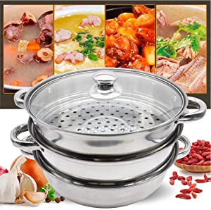 TBvechi Stainless Steamer 3 Tier Steamer Stainless Steel Steam Cooking Cookware Pot Cooker with Glass Lid