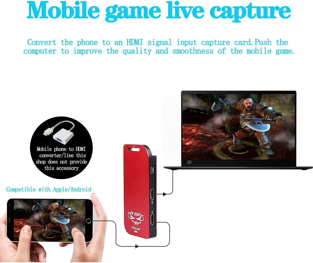 Tarjeta de captura de vídeo de juego HDMI con USB-C/Type-C ...