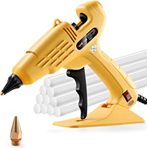 Hot Glue Gun, TangTag Full Size 60W Heavy Duty Hot Glue Gun with Replace Nozzle and 10Pcs Glue Sticks 11 200mm, with LED light Power Switch, for DIY, Arts & Crafts, Home and Office Quick Repairs