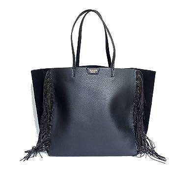 a9f8e9b3134 Victoria's Secret Black Fringe Tote Purse Bag Large Shopper Limited  Edition: Handbags: Amazon.com