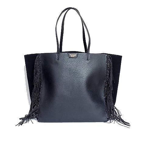 e54ccd8d55a9b Victoria's Secret Black Fringe Tote Purse Bag Large Shopper Limited Edition