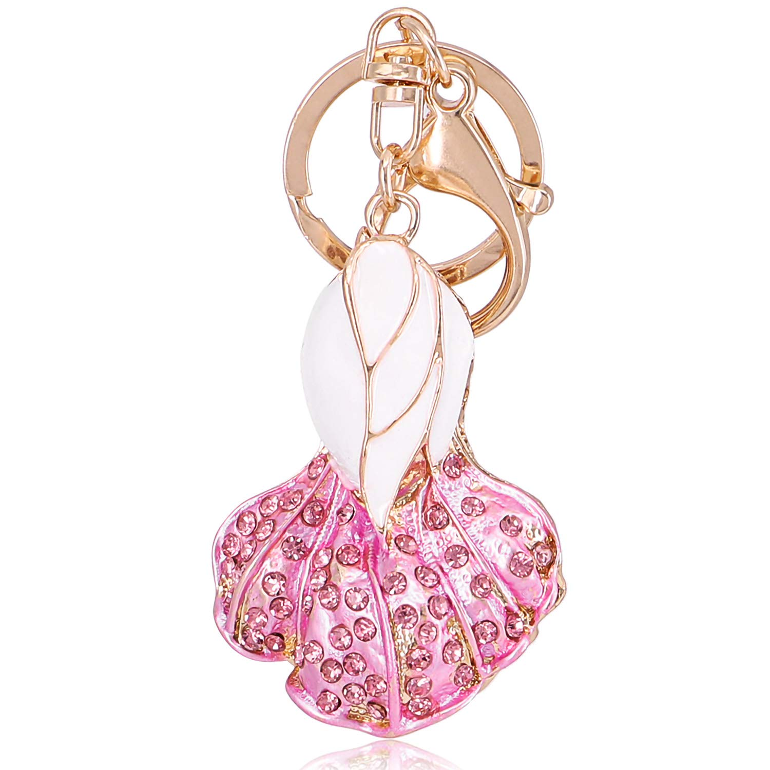 QTKJ Pink Cute Crystal Cabbage keychains for Women Bag Handbag Charms Key Ring Car Key Pendant Gift