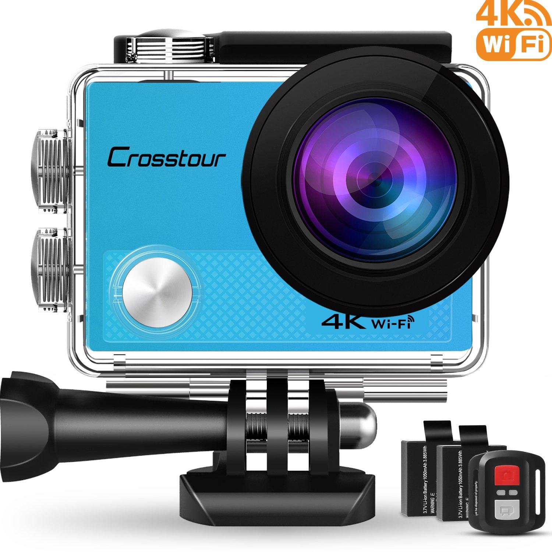 """Crosstour Action Cam 4K Wifi 16MP Camera Ultra HD 30M Unterwasserkamera 170°Ultra-Weitwinkel 2"""" LCD mit 2 Wiederaufladbare 1050mAh Batterien (Blau)"""