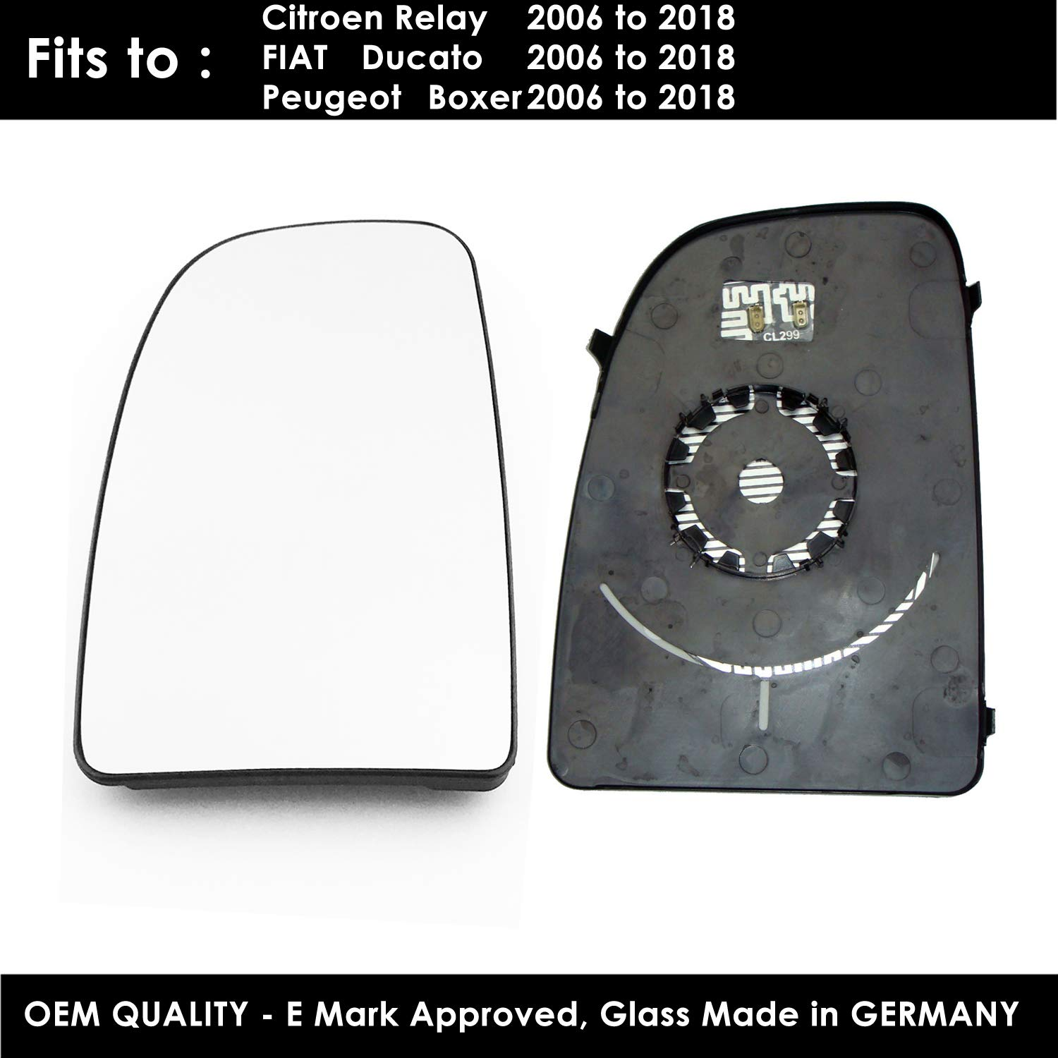 heated For CITR-Berlingo Year 2012 To 2017 Right Hand Side Door Mirror Glass With base Plate