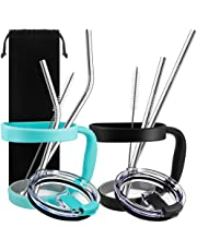 10 Pieces 30oz Tumbler Holders Handles + Tumbler Lids + Stainless Steel Straws + Cleaning Brushes, SourceTon Accessories Kit for Yeti Rambler,  Rtic (Lids for Old Style ), Ozark, Trail, Berg, SIC