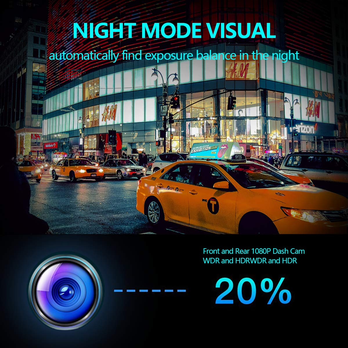 Anstar Cámara de Coche 1080P Pantalla Táctil Dash CAM LCD de 10