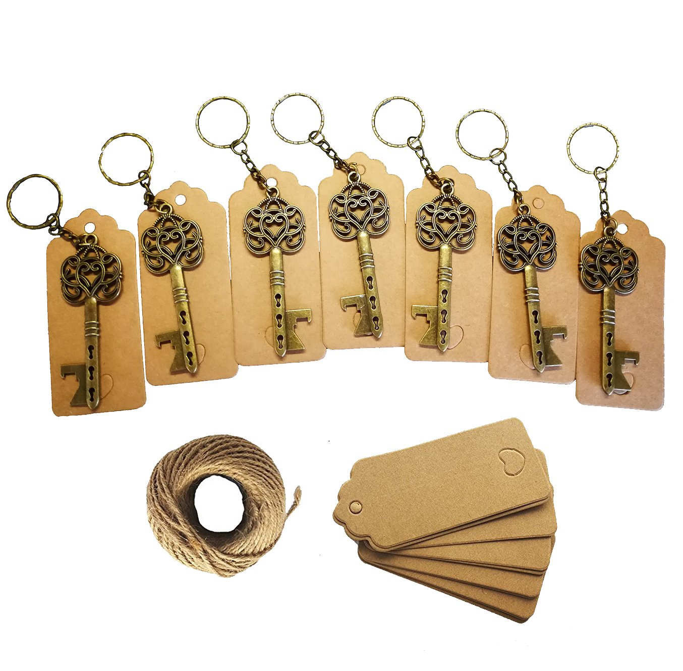 50Pcs Wedding Favors Skeleton Key Bottle Opener with 50pcs Escort Card Tag and Twine for Guests Party Favors Rustic