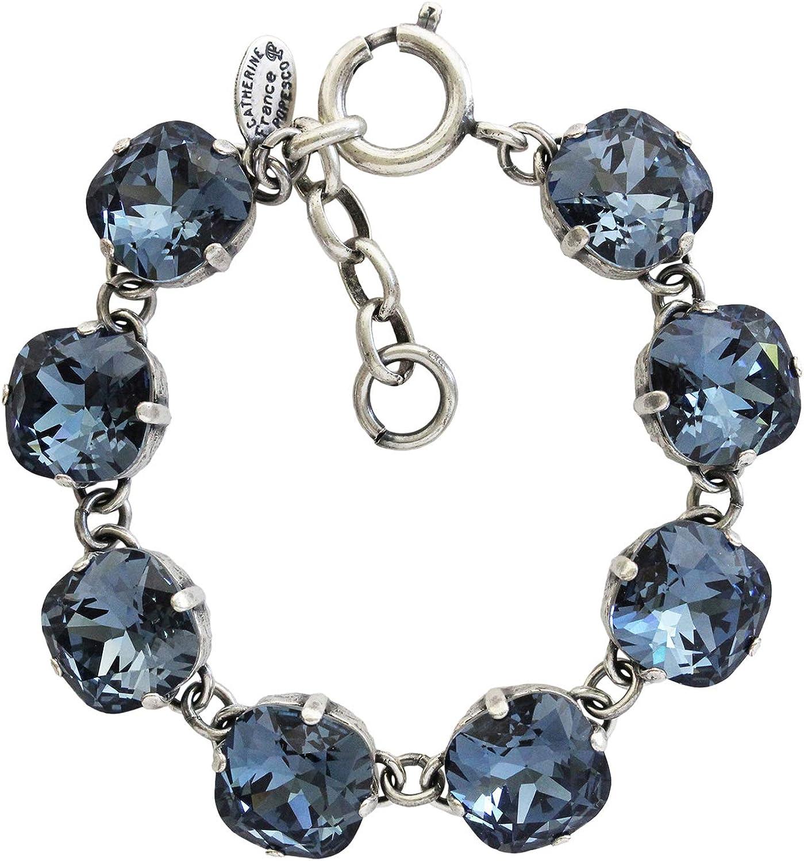 Catherine Popesco Silvertone Crystal Round Bracelet, Midnight Blue 1696