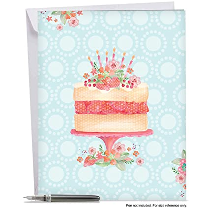 Amazon Com Painted Watercolor Birthday Card With Envelope 8 5 X