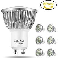 Ampoule LED GU10, 7W 550LM Spot LED, Équivalente 60W Ampoule Halogène, Blanc Froid 6000K, AC85-265V, 140° Larges Faisceaux, Ampoule Réflecteur LED by Jpodream - Lot de 6