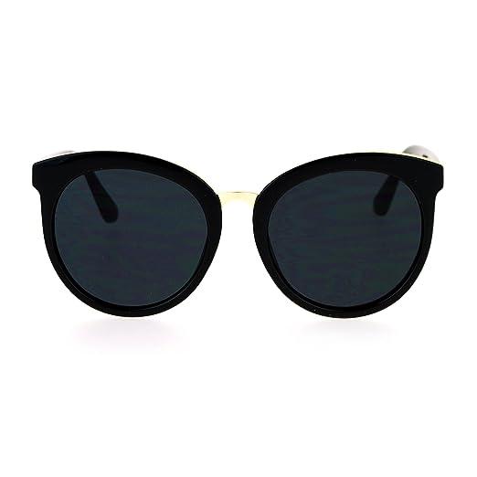 6bbc28668da SA106 Flat Lens Large Horn Rim Butterfly Retro Designer Sunglasses All Black
