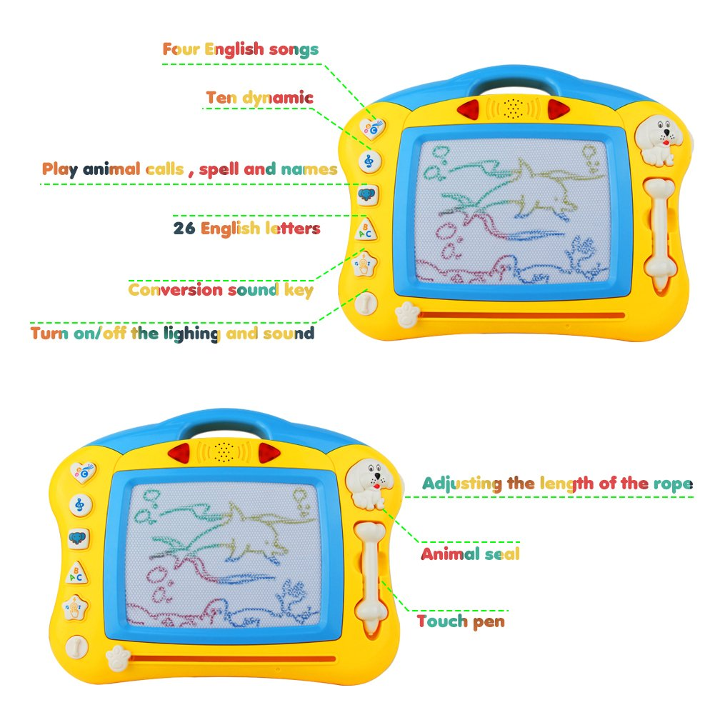 Akokie Magnetic Drawing Board Doodle Writing Scribble Drawing Board Game Music Colorful Shine Kids 3 4 5 Years Old