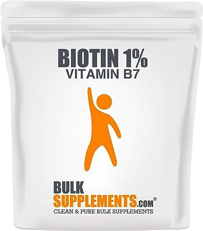 BulkSupplements.com Biotin 1% (Vitamin B7) Powder - Biotin Vitamins for Hair Skin and Nails - Hair and Nails Vitamins for Women (100 Grams)