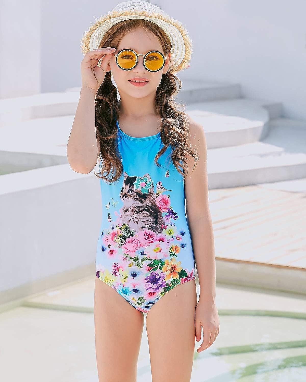 DUSISHIDAN Badeanzug f/ür M/ädchen Einteiler Bademode Schlinge Swimsuit Bikini Katze Badeanzug m/ädchen 110-176