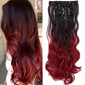 S Noilite 24 Ombre Dip Dye Long Curly Clip In Hair Extensions Two Tone Thick Full Head Synthetic