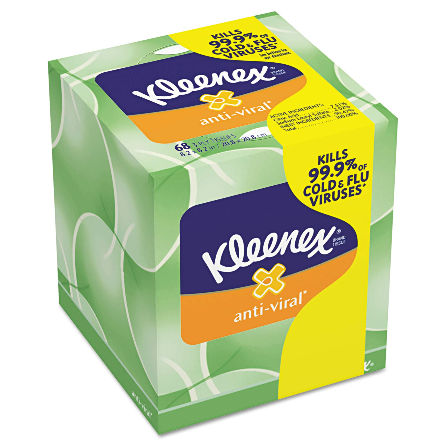 Kleenex 25836CT Anti-Viral Facial Tissue, 3-Ply, 68 Sheets per Box (Case of 27 Boxes)