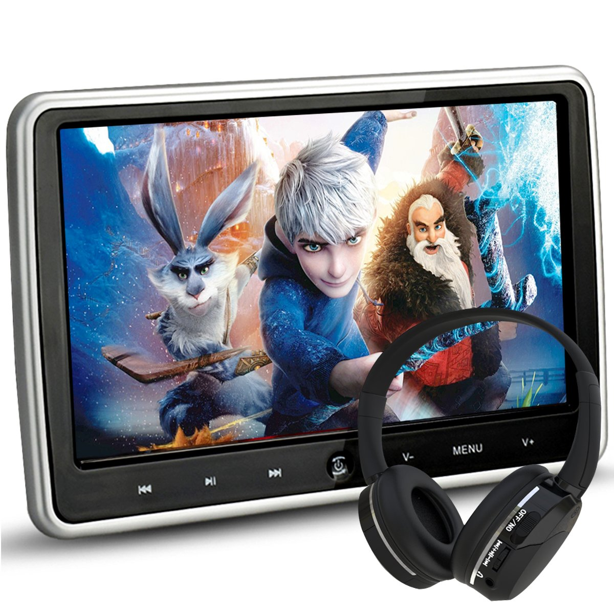 NOAUKA 10.1'' Ultra Thin Portable Digital HD TFT LCD Headrest DVD Player Car Multimedia Wide Screen Display Player Headrest Monitor with HDMI and Remote Control and IR Headphone by NOAUKA
