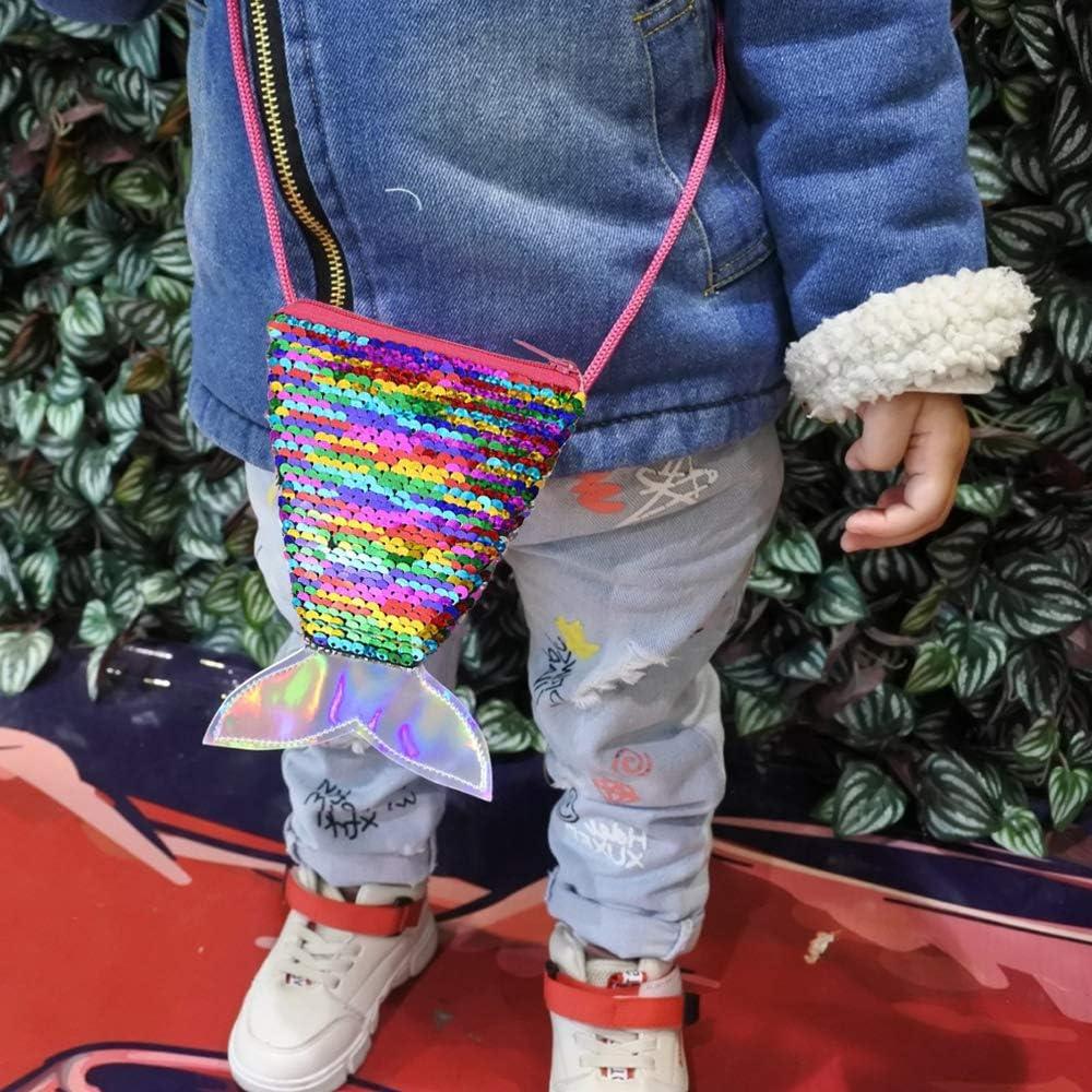 Shuxy 3PCS Mermaid Tail Coin Purse Sequin Wallet Bag Mini Bling Wallet Glitter Heart Reversible Crossbody for Little Girl Toddler Shoulder Bag Satchel Mermaid Party Supplies Birthday Christmas Gift