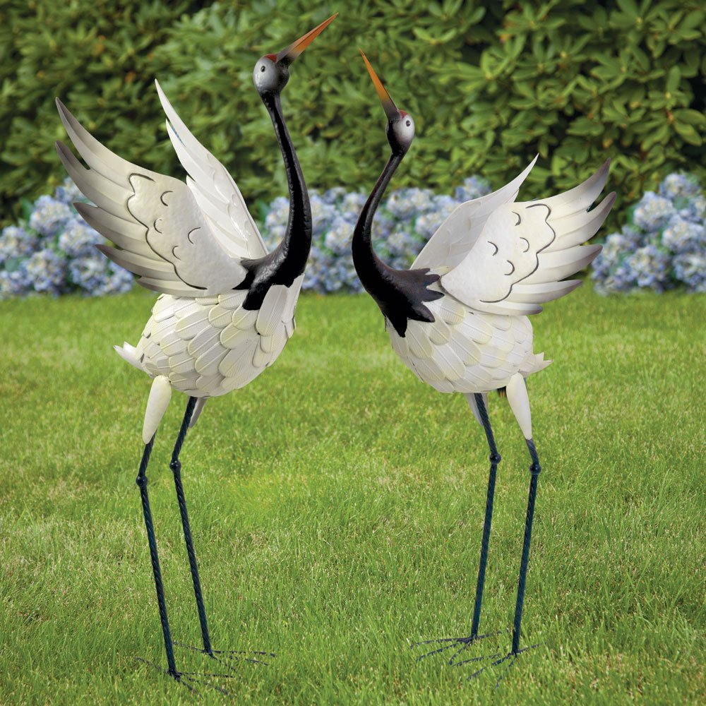 Amazon.com : Bits And Pieces  Red Crowned Cranes Metal Garden Sculpture    Set Of Two Metal Cranes For Home And Garden Décor   Metal Garden Art,  Outdoor Lawn ...