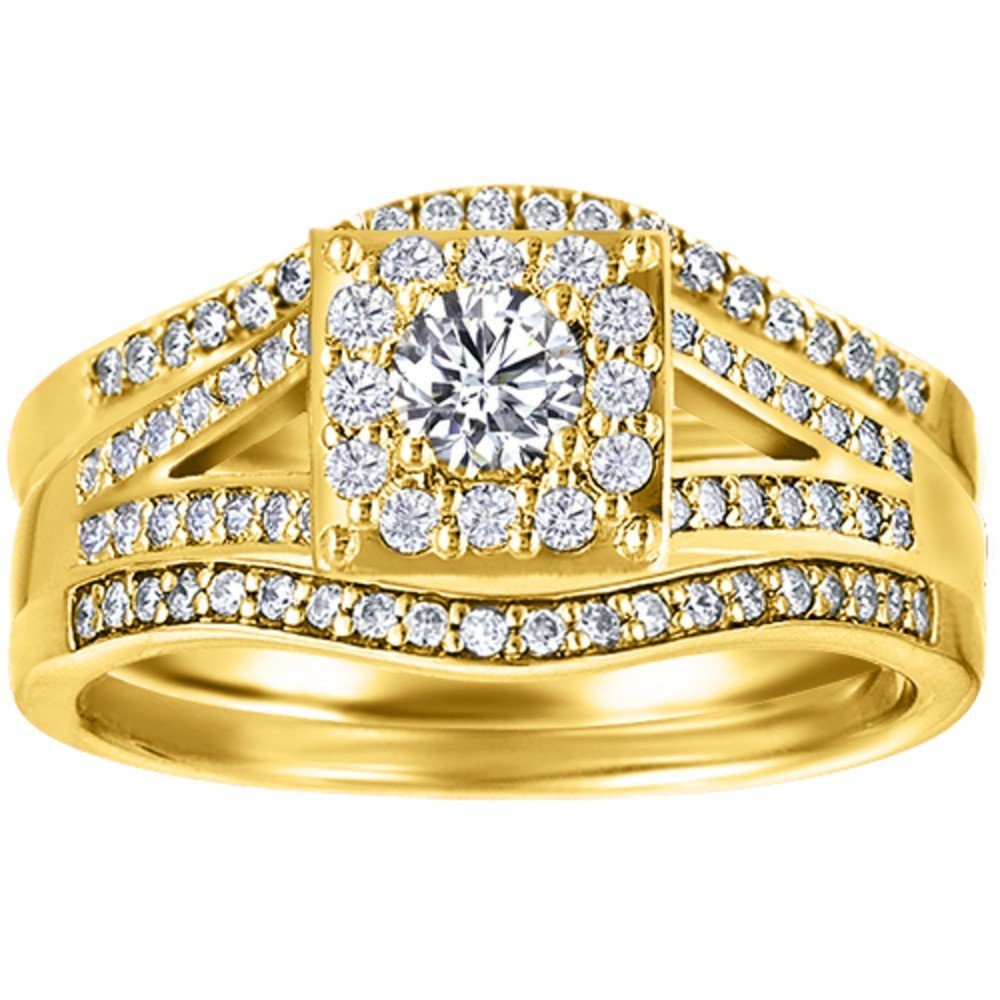 CZ Halo Engagement Ring and Ring Guard Set made in Yellow Plated Sterling Silver (2 Pieces) (0.77ct. twt. Cubic Zirconia) by TwoBirch
