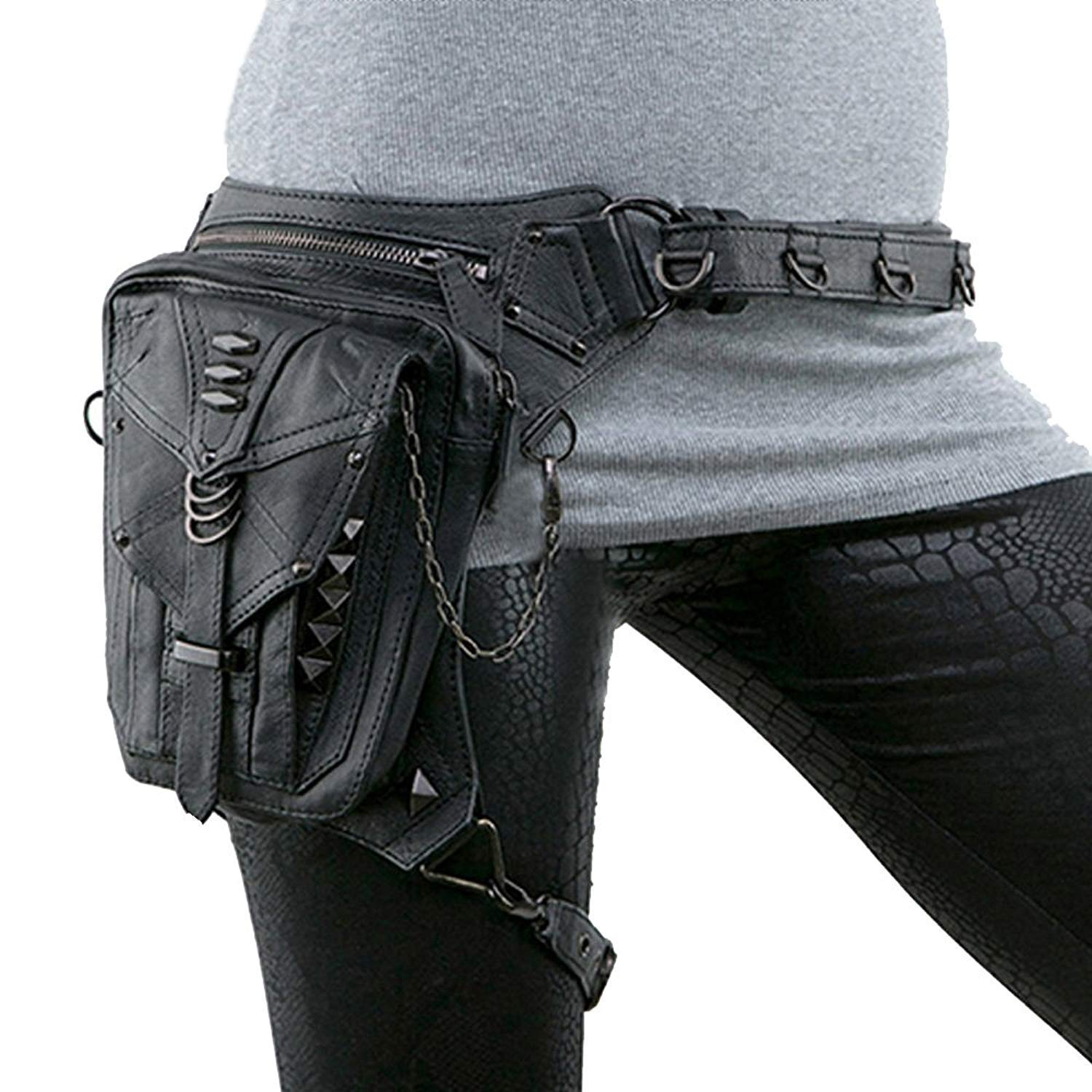 Shoulder Fanny Packs Waist Bags Womens Steampunk Retro Motorcycle Lady Bag Vintage Rock Gothic Shoulder Waist Leg Thigh Holster Bags JIHUO ST-2j