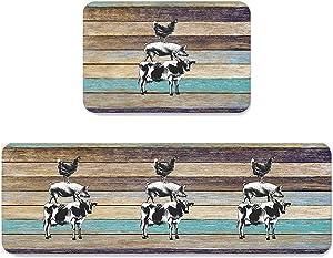 SUN-Shine Farm Animals Cow Pig with Chicken Kitchen Area Rug Set 2 Pieces, Non Slip Floor Runner Door Mats Absorbent Carpet Indoor Doormats Wood Texture