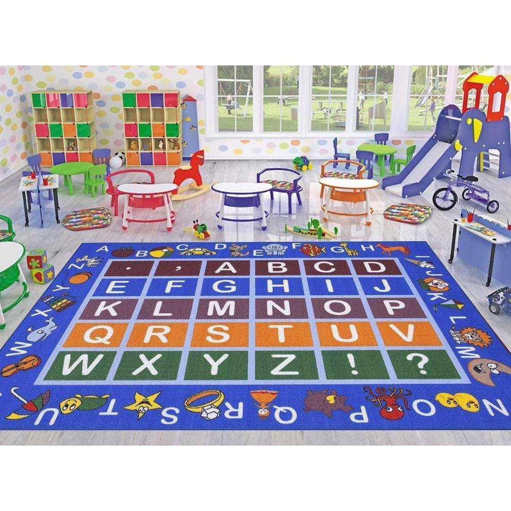 Ottomanson Jenny Collection Light Blue Frame Multi Colors Kids Children's Educational Alphabet (Non-Slip) Area Rug, Blue, 3'3'' X 5'0''