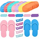 Tbestmax Random Color 24 Pair Disposable Flip Flops, Foam Slippers for Foot Spa Pedicures in Kid Party with 24 Pair Toe…