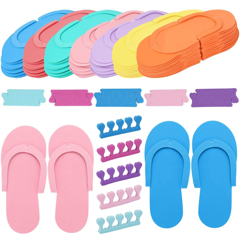 Tbestmax Random Color 24 Pair Disposable Flip Flops, Foam Slippers for Foot Spa Pedicures in Kid Party with 24 Pair Toe Separators Bulk