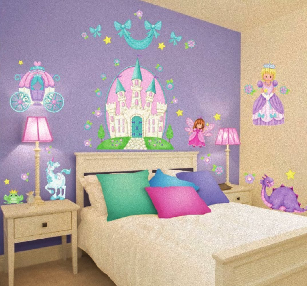 Princess Camryn Stickers Wall Decals Children Bedroom Decor Castle Carriage  Fairies Unicorn