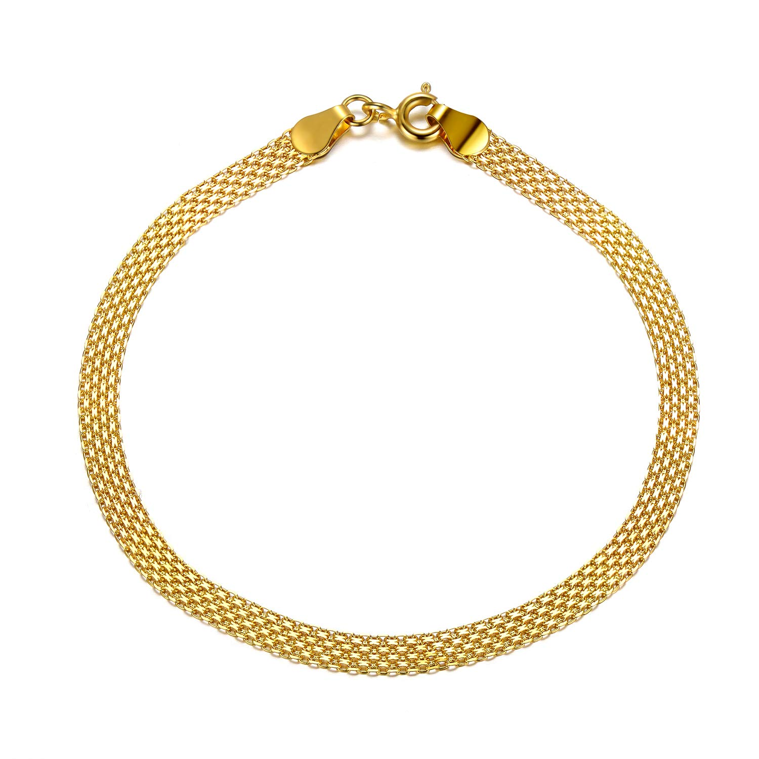 SISGEM 18k Yellow Gold Italian Chain Bracelet, Real Fine Link Jewelry for Women (3.7 mm, 7 inch) by SISGEM