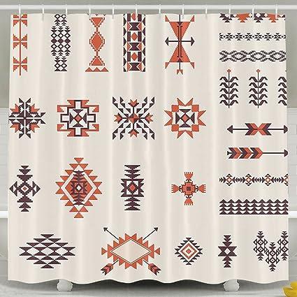 XsWu Native American Illustration Of Navajo Aztec Pattern Tribal Geometric Print Shower Curtain Bath With