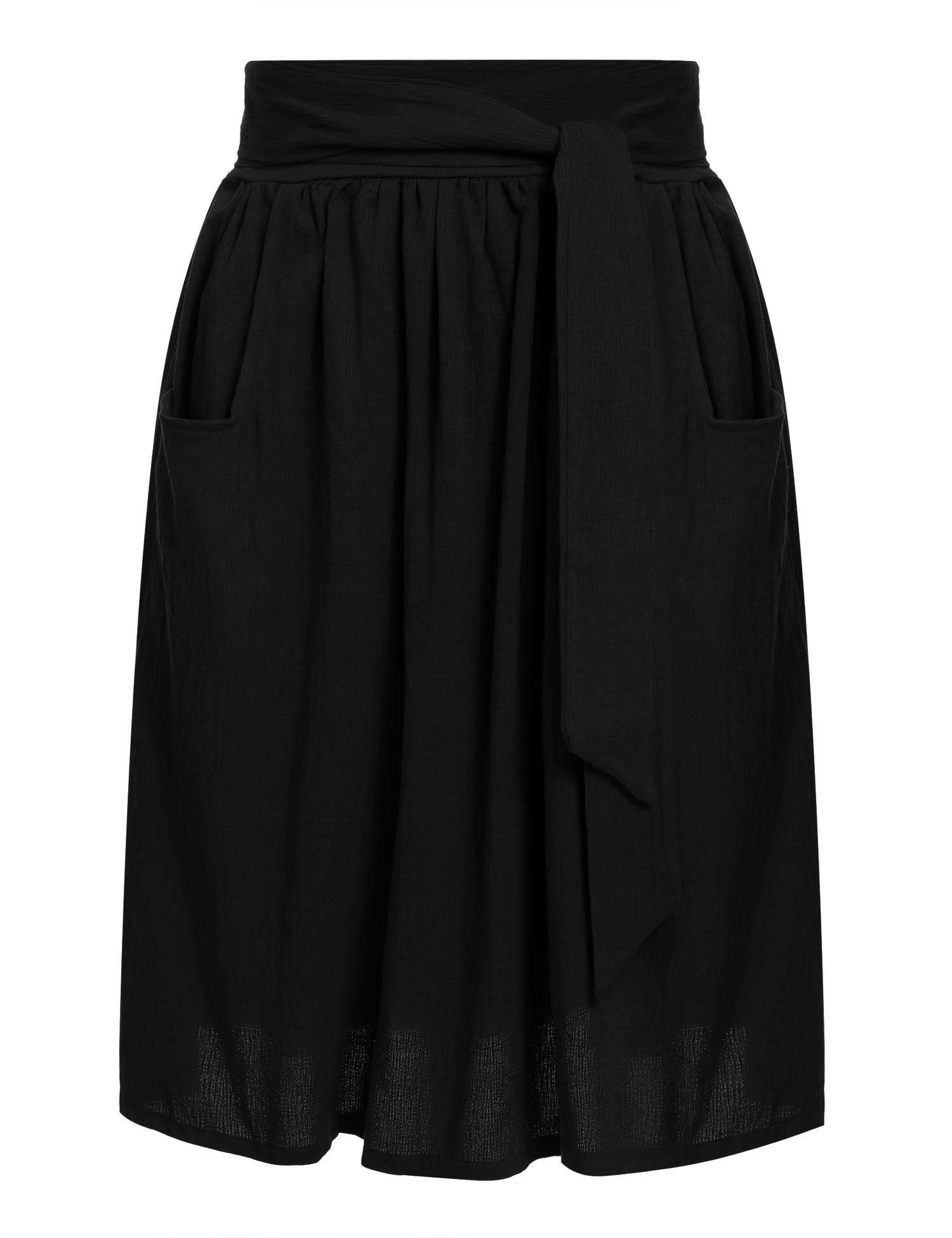 Zeagoo Women's Cotton A Line Tie Belt Street Pockets High Waist Pleated Casual Midi Skirts,Black,Medium