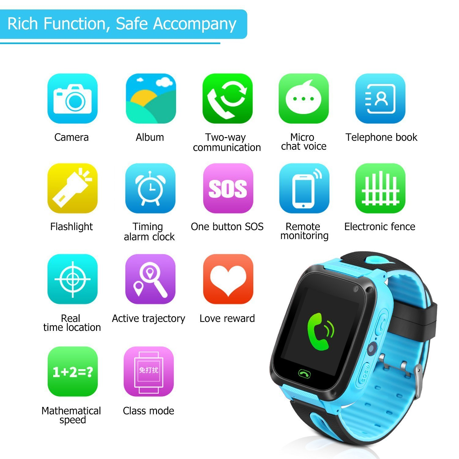 Kids Smart Watch Phone - Kids GPS Tracker Smartwatch for Girls Boys with Mobile Phone SOS Anti-lost Camera Game Touch Screen Children Outdoor Digital Wrist Watch Bracelet for Summer Holiday Gift by Kidaily (Image #2)